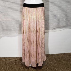 LuLaRoe Lucy Pink Blush Metallic Long Skirt Size L